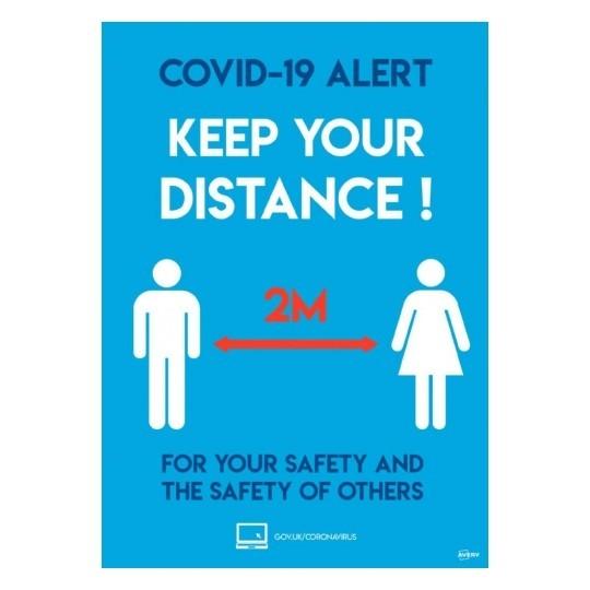 A3 A4 Social Distancing 2m - COVID-19 Signage